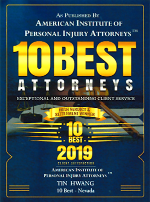 Tin Hwang 10 Best Attorneys for exceptional and outstanding client service in Personal Injury by the American Institute of Personal Injury Attorneys